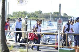 Sixteen young men were evicted from a P&O; cruise in Gladstone because of their behaviour.