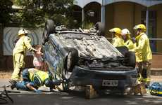 Emergency service crews attend to a traffic crash at the intersection of James and Hume Sts.