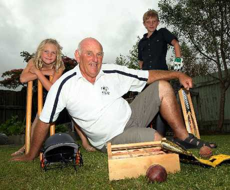 HONOURED: Harry Findlay spent time with his grandchildren, Maia Findlay, 7, and Toby Findlay, 9, at the weekend but still didn't have the chance to tell anyone he was receiving a QSM for services to cricket in the New Year's Honours List.