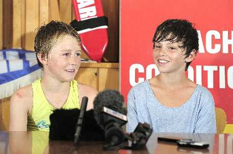 YOUNG HEROES: Cousins Will White (left) and Sergio Schuler, both aged 12, rescued a man from a rip at Bowentown.