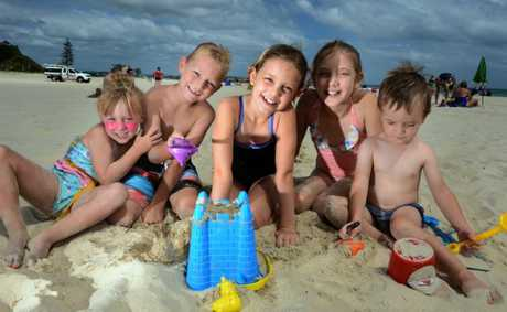 Eve, Jack, Emma, Heidi and William Wood at Coolangatta beach. Photo: John Gass / Daily News