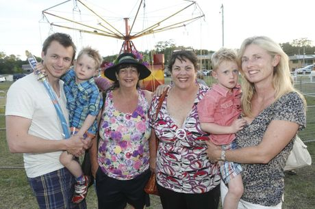 Paul and Oliver Egan, Marita and Margie Stapleton and Henry and Jo Egan of Brisbane have a family get together on New Years Eve at the carnival