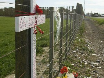 TOLL: Roadside crosses tell a sad story.