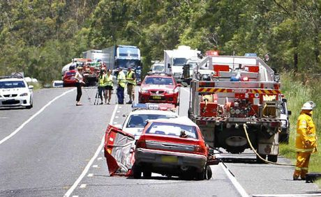Traffic on the Pacific Hwy at a standstill as emergency services deal with the aftermath of yesterday's fatal collision near the Iluka turn-off.