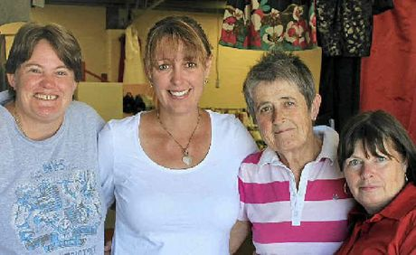 House fire victims Cath Wheeler and Leanne Adams with friends Carol Rix and Stanthorpe Community Op Shop's Debbie Lightfoot-De Hamer.