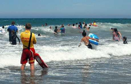 PUBLIC PROTECTED: Life guards at busy Riversdale Beach are on close watch during the festive season.
