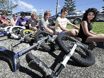 BIKIE GANG: Unicyclists Tirryn Nankivell (from left), Jojo Stewart, Chris Champion, Brendon Nankivell, Tim Leathart, Dean Toms, Chris Aitken, Steffan Safey, Duncan Shand and Miriam May.