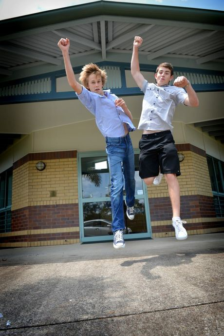 Sam Waltisbuhl and Lachlan Davis, after receiving their scholarship cheques to help with their further studies.