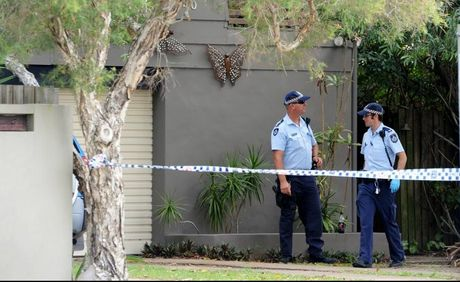 Police at the site of an alleged stabbing in Hervey Bay on New Year's Day.