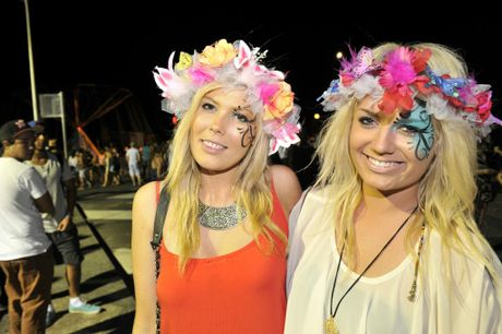 Becky Walstab and Mel Gourlay of Sydney celebrating New Year Eve in Byron Bay Photo Mireille Merlet-Shaw / The Northern Star