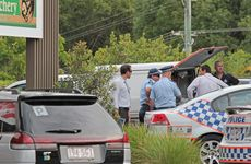 Police at the Middy's Complex Buderim carpark, where the body of 19-year-old Dylan Daure was found.