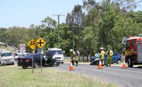 Head on crash at Hatton Vale on 02/01/13. Photo by Tom Threadingham, Gatton Star