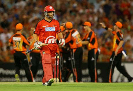 Aaron Finch of the Renegades walks back to the rooms after being dismissed by Jason Behrendorff of the Scorchers during the BBL match between the Perth Scorchers and the Melbourne Renegades at WACA on December 29, 2012 in Perth, Australia.