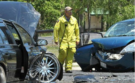CRUNCH: A two-vehicle crash at Hatton Vale on Wednesday.