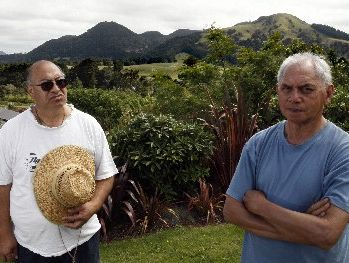 CONCERNED: Ngati Kahu o Torongare kaumatua Takiri Puriri (left) and Richard Shepherd want to be consulted before development takes place on hills significant to their hapu, such as Parekiore behind them.