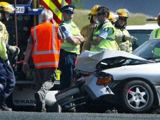 PROBLEM: One of the cars involved in a two-car smash on New Year's Eve on SH1 at the intersection of Whananaki North Rd.