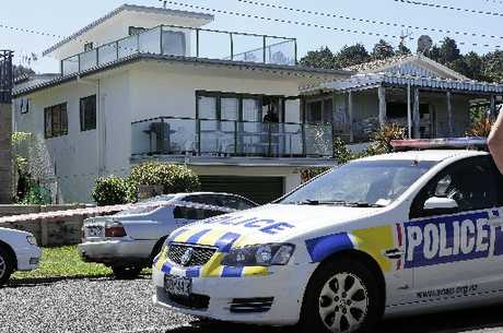 Police investigate at the scene of a stabbing in Waihi Beach.