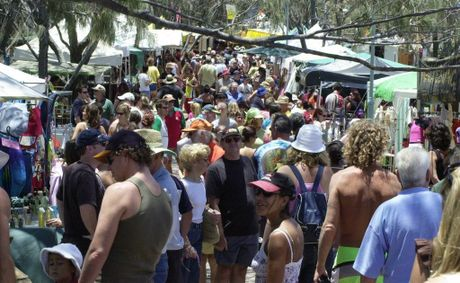 A previous beachside market at Byron Bay.