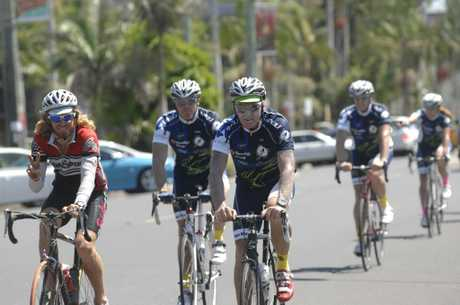 Tasmanian Fire Service members who are riding from Brisbane to Hobart in aid of the Australian Cancer Research Foundation ride down Molesworth Street. Photo Marc Stapelberg / The Northern Star