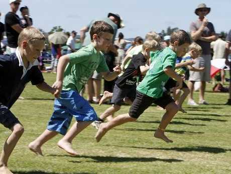 TAKE YOUR MARK, SET, GO! The boys are off in one of the 50m sprints at the 142nd Waipu Highland Games.