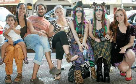 SIDELINED: Boozy New Year's Eve party animals made the town unpleasant for people such as Israeli visitors Mali and Yaron Millo and their daughter Shira, and Byron Bay's Mandy Debono and her daughters, Vanessa, Arna and Esther.