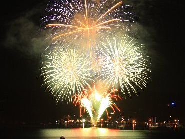 GREAT SHOW: Paihia welcomes 2013 with fireworks from a barge moored in the Veronica Channel.