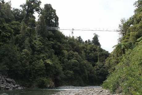 PLACID SCENE: The swing bridge over the Waiohine Gorge, where Michael Hopkins was rafting on Sunday. PHOTO/FILE