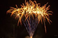 Fireworks light up the night sky over Bribie Island On New Year's Eve. Photo Rule Photography