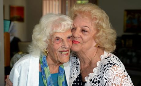 Sylvia Adams with Doris 'Dodo' Hall back at home. Photo: John Gass / Daily News