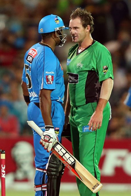 Kieron Pollard of the Strikers has words with John Hastings of the Stars during the Big Bash League match between the Adelaide Strikers and the Melbourne Stars at Adelaide Oval on December 27, 2012 in Adelaide, Australia. 