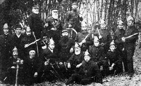 WORKING TEAM: The fire brigade pictured in 1865.