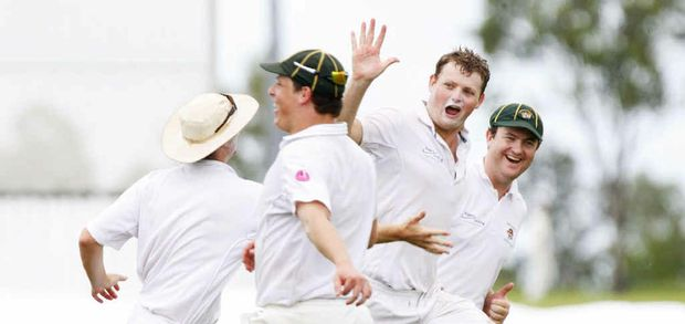 Bowler Robert Hillier celebrates after taking a wicket in the grand final cricket match between Northsiders and Eastern Taipans at Ivor Marsden Memorial Park.