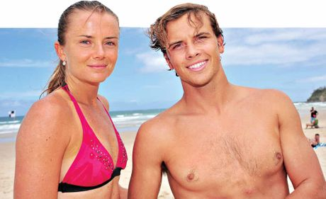 PRO V PRO: Tennis player Daniela Hantuchova after a surfing lesson from pro surfer Julian Wilson at Coolum Beach.
