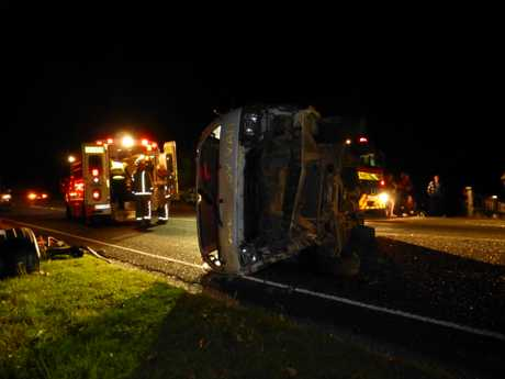CRASH: Five people were taken to hospital after this crash on Kerikeri Road just before 1am on New Year's Day. NEST