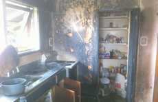 The kitchen where a man was badly burnt in an oil fire explosion.