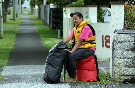 PACKED AND READY: Rangituehu Twomey-Waitai has her gear packed in drybags for the two-week Tira Hoe Waka canoe trip down the Whanganui River.
