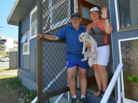 FREE HOUSE: Shane and Rebecca Smith have a beach shack at Caloundra to give away.