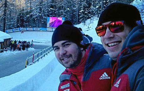 BREAK FROM TRAINING: Chris Spring, left, and a Canadian teammate take in some of the fast-paced action at St Moritiz this week.