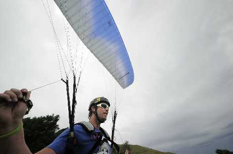 BIRD'S EYE VIEW: Steve Hopper, who has been learning to paraglide for 12 months, says the sport is the ultimate form of relaxation.