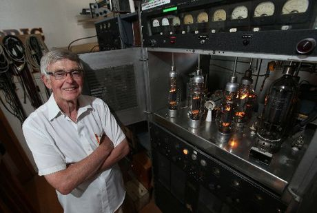 VINTAGE VALVES: Valve technology, still in vogue today among high-end audio enthusiasts, lies at the heart of this restored transmitter, proudly shown off by Village Radio technician George Stewart.