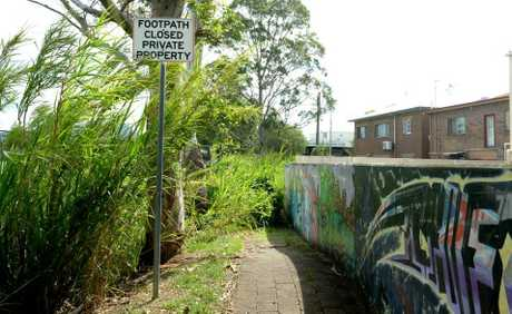 Overgrown and out-of-bounds, this walkway is closed to the public in Murwillumbah.