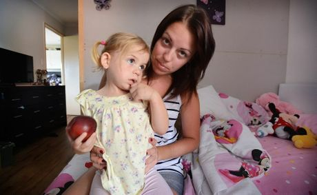 Tess Guthrie and her Daughter Zara Guthrie, aged 2 of Richmond Hill. Zara was attacked by a 6 foot Python while she lay sleeping in her mothers bed. Photo Patrick Gorbunovs / The Northern Star