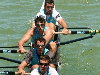 GRASSROOTS STUFF: Hawke&#39;s Bay rowing products Adam Tripp, stroke at front, and Richard Harrison, behind, with fellow national Summer Squad members David Mabbott and Steve Cottle in action at the Bay club&#39;s annual New Year&#39;s Regatta during the weekend.