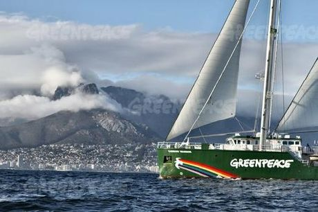 NORTHLAND-BOUND: The Greenpeace ship Rainbow Warrior III arrives at Cape Town en route to New Zealand. Matauri Bay is her first stop in New Zealand this week, where her predecessor was scuttled 25 years ago.