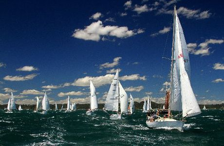 CELEBRATION OF SAIL: The waters off Russell are crowded with boats competing in the first leg of the Tall Ships and Classic Invitational Race on Saturday.