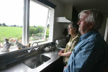 LIVING MEMORY: Neil and Aurea Hickland stand at the kitchen window where they saw the tragedy unfold.