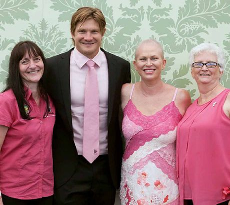 IN SPOTLIGHT: Ipswich McGrath breast care nurse Karen Miles with her patient, Suzanne Allen, and her mother, Yvonne Allen, with Shane Watson at the Jane McGrath Day at the SCG on Saturday.