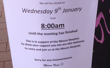 STRONG SUPPORT: Up to five Moura businesses notified customers they would be closed for the blockade tomorrow.