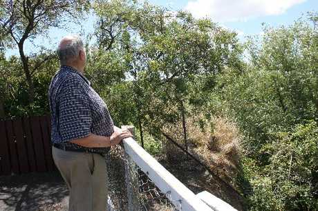 ON EDGE: McPhee St resident Roger Ramsden looks over the cliff where an 82-year-old woman fell on Friday night. Mr Ramsden, who lives across the road from where the accident occurred, said the incident was traumatic for everyone involved. PHOTO/CHRISTINE McKAY DAN13024