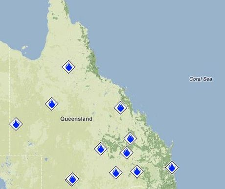 Rural fire service map of current fires in Queensland.